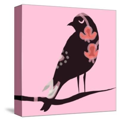 Brown Bird on Pink--Stretched Canvas Print