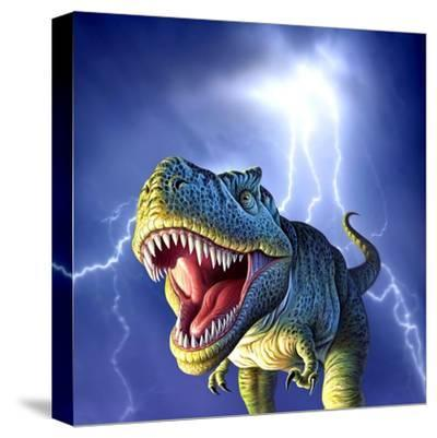 A Tyrannosaurus Rex with a Blue Stormy Sky and Lightning Behind It--Stretched Canvas Print