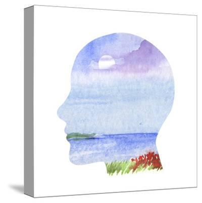 Human Profile with Sea Landscape- carlacastagno-Stretched Canvas Print