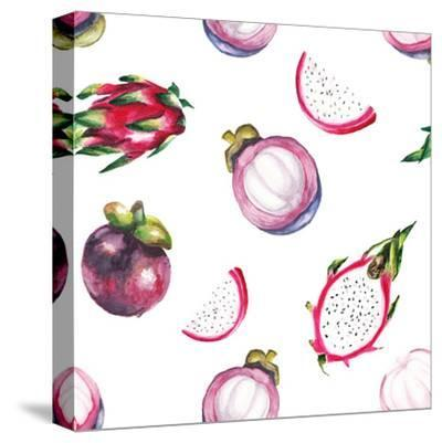 Watercolor Dragon Fruit and Mangosteen Pattern-lenavetka87-Stretched Canvas Print