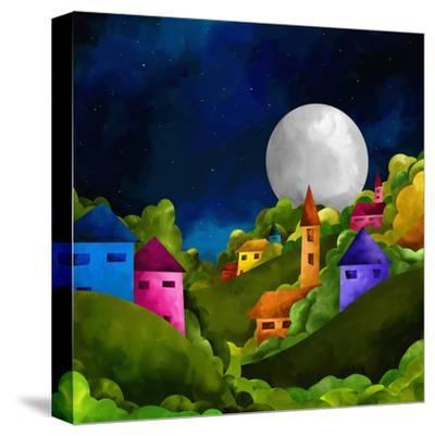 Country Hill at Night-goccedicolore-Stretched Canvas Print