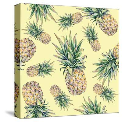 Pineapple on a Yellow Background. Seamless Pattern-MargaritaSh-Stretched Canvas Print