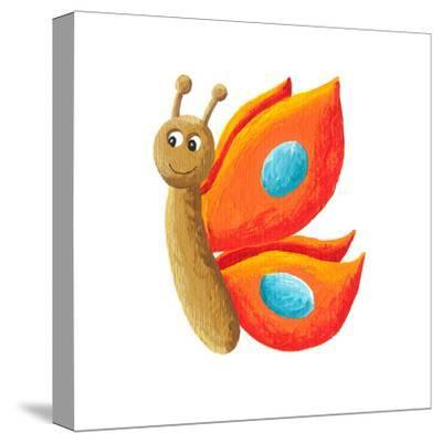 Cute Orange Butterfly-andreapetrlik-Stretched Canvas Print