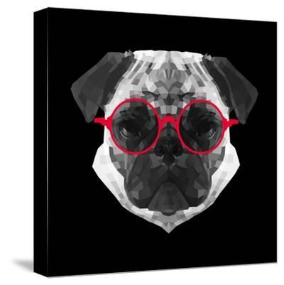 Pug in Red Glasses-Lisa Kroll-Stretched Canvas Print