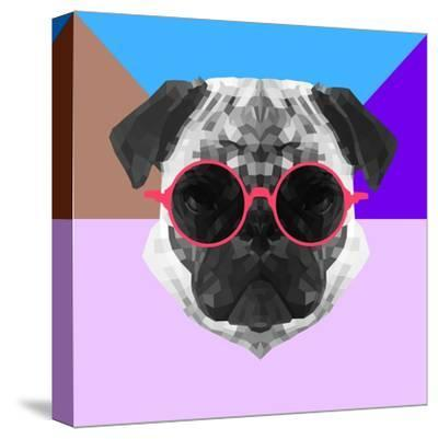 Party Pug in Pink Glasses-Lisa Kroll-Stretched Canvas Print
