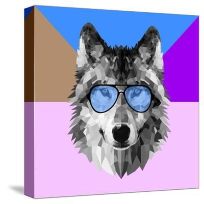Woolf in Blue Glasses-Lisa Kroll-Stretched Canvas Print