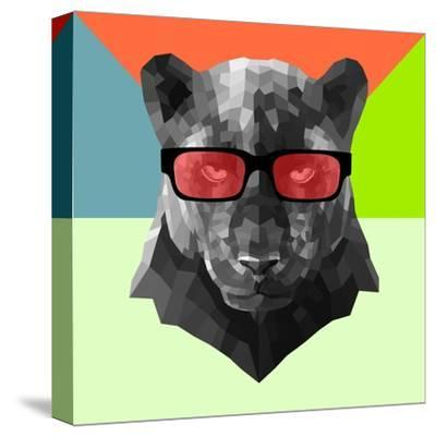 Party Panther in Red Glasses-Lisa Kroll-Stretched Canvas Print