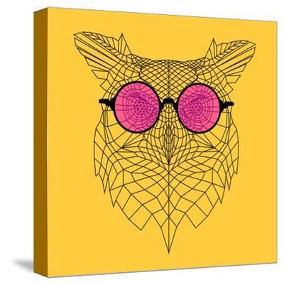 Owl in Pink Glasses-Lisa Kroll-Stretched Canvas Print