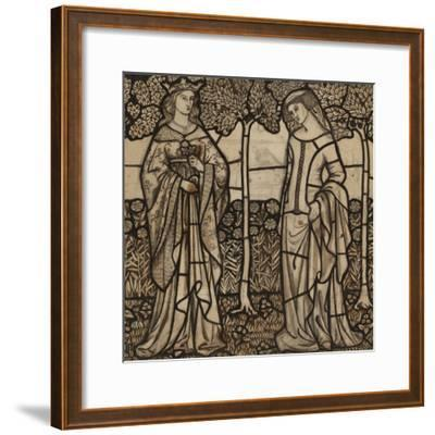 Guinevere and Iseult: Cartoon for Stained Glass-William Morris-Framed Premium Giclee Print