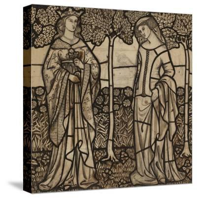 Guinevere and Iseult: Cartoon for Stained Glass-William Morris-Stretched Canvas Print