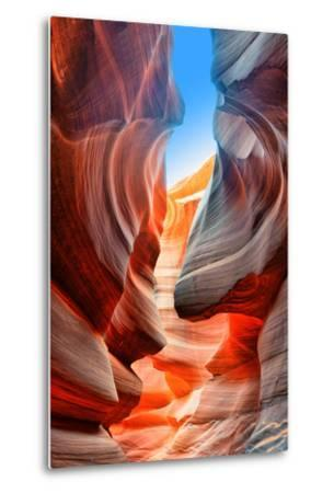 Sunlight Reflected off of the Red Rock Curves of the Antelope Canyon Slot Canyons in Page, Arizona.-lucky-photographer-Metal Print