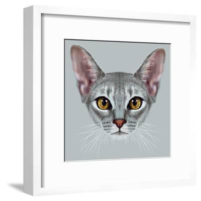 Illustrative Portrait of Abyssinian Cat. Cute Breed of Domestic Short Haired Cat with a Distinctive-ant_art19-Framed Art Print