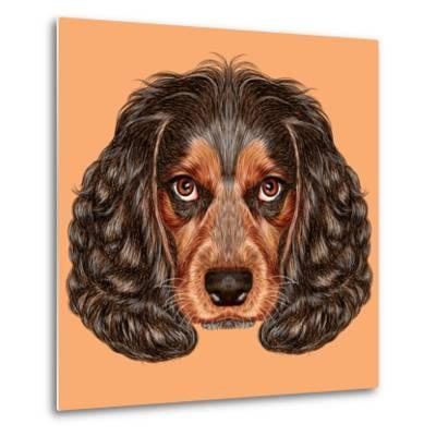 Illustrative Portrait of Spaniel Dog. Cute Young Russian Hunting Spaniel.-ant_art19-Metal Print