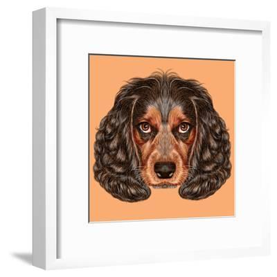Illustrative Portrait of Spaniel Dog. Cute Young Russian Hunting Spaniel.-ant_art19-Framed Art Print
