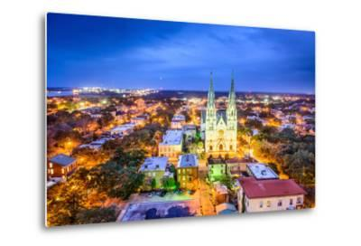 Savannah, Georgia Downtown Skyline at the Cathedral.-SeanPavonePhoto-Metal Print