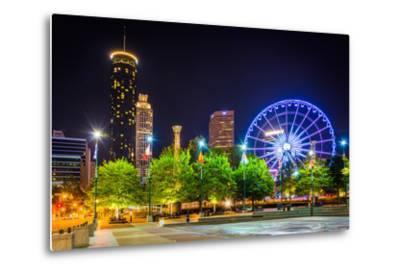 Ferris Wheel and Buildings Seen from Olympic Centennial Park at Night in Atlanta, Georgia.-Jon Bilous-Metal Print