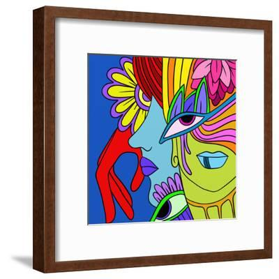 Abstract with Red Hand-goccedicolore-Framed Art Print