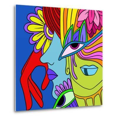 Abstract with Red Hand-goccedicolore-Metal Print