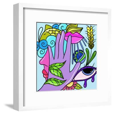 Hand and Fish-goccedicolore-Framed Art Print