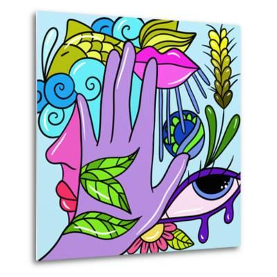 Hand and Fish-goccedicolore-Metal Print