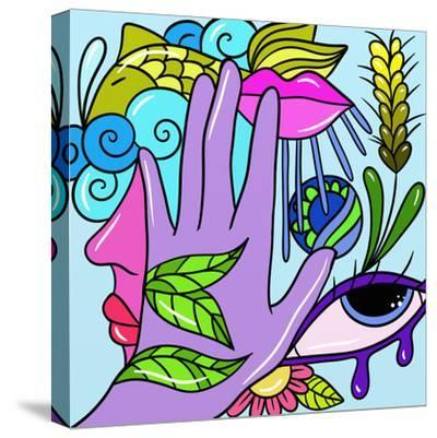 Hand and Fish-goccedicolore-Stretched Canvas Print