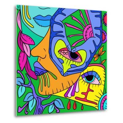 Abstract with Colorful Faces-goccedicolore-Metal Print