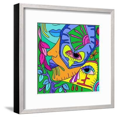 Abstract with Colorful Faces-goccedicolore-Framed Art Print