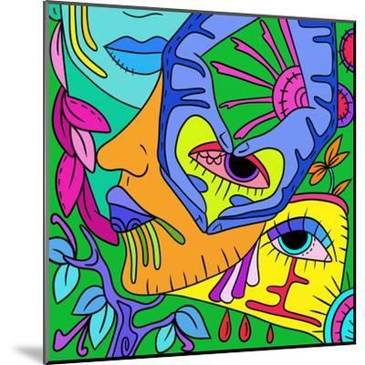 Abstract with Colorful Faces-goccedicolore-Mounted Art Print