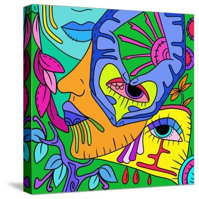 Abstract with Colorful Faces-goccedicolore-Stretched Canvas Print