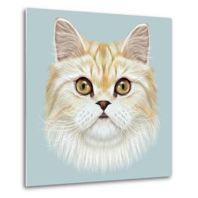 Illustrated Portrait of Persian Cat.-ant_art19-Metal Print