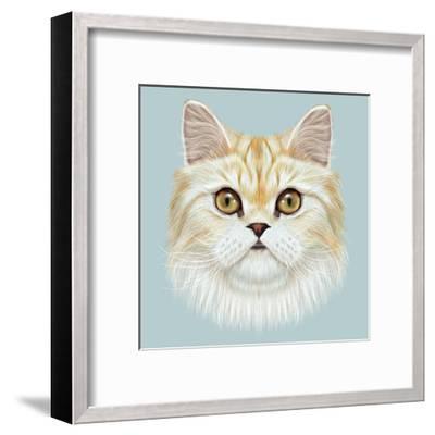 Illustrated Portrait of Persian Cat.-ant_art19-Framed Art Print