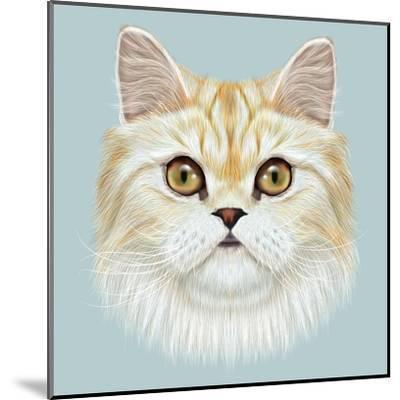 Illustrated Portrait of Persian Cat.-ant_art19-Mounted Art Print