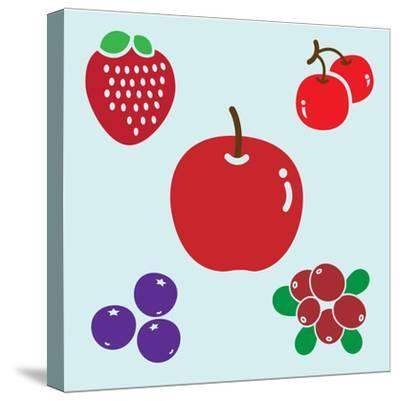 APPLE & BERRIES- giantapplelim-Stretched Canvas Print