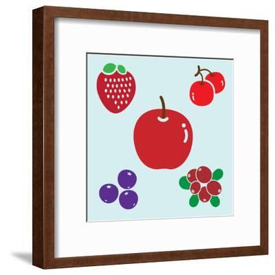APPLE & BERRIES- giantapplelim-Framed Art Print
