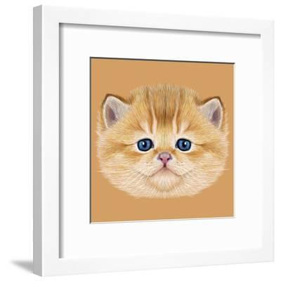 Illustrative Portrait of Domestic Kitten. Cute Peach Kitten with Blue Eyes.-ant_art19-Framed Art Print