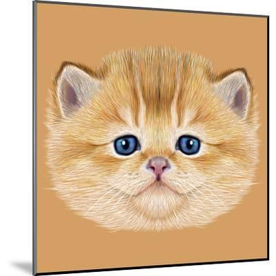 Illustrative Portrait of Domestic Kitten. Cute Peach Kitten with Blue Eyes.-ant_art19-Mounted Art Print
