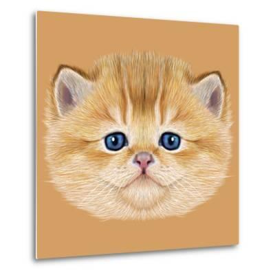 Illustrative Portrait of Domestic Kitten. Cute Peach Kitten with Blue Eyes.-ant_art19-Metal Print