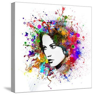 Lady in Paint Splat-reznik_val-Stretched Canvas Print