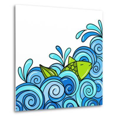 Fish in the Waves Blue-goccedicolore-Metal Print