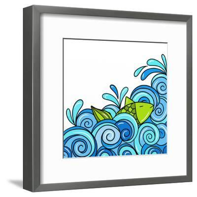 Fish in the Waves Blue-goccedicolore-Framed Art Print