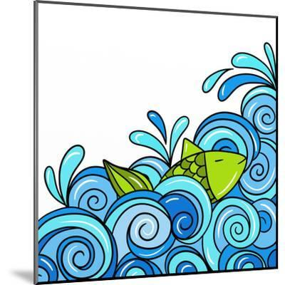 Fish in the Waves Blue-goccedicolore-Mounted Art Print