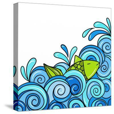 Fish in the Waves Blue-goccedicolore-Stretched Canvas Print