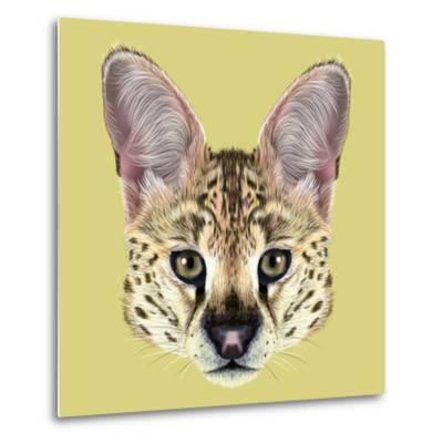 Illustrated Portrait of Serval-ant_art19-Metal Print