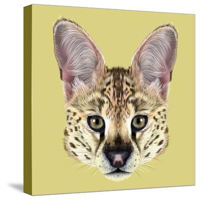 Illustrated Portrait of Serval-ant_art19-Stretched Canvas Print