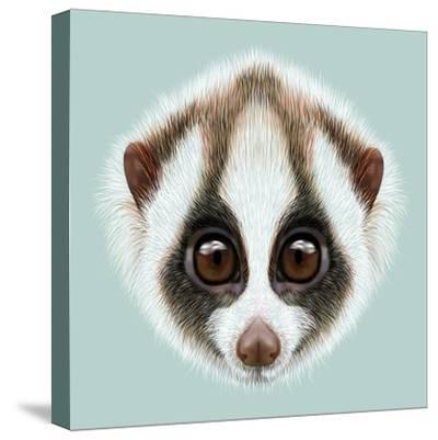 Illustrated Portrait of Slow Loris-ant_art19-Stretched Canvas Print