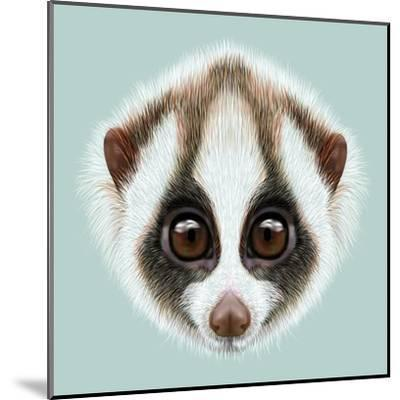 Illustrated Portrait of Slow Loris-ant_art19-Mounted Art Print