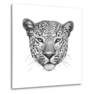 Original Drawing of Leopard. Isolated on White Background.-victoria_novak-Metal Print