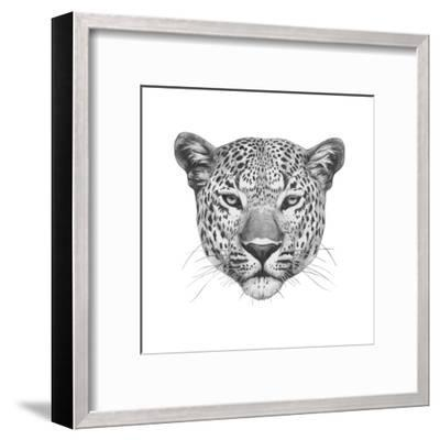 Original Drawing of Leopard. Isolated on White Background.-victoria_novak-Framed Art Print