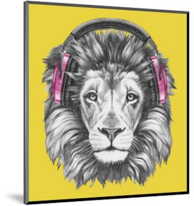 Portrait of Lion with Headphones. Hand Drawn Illustration.-victoria_novak-Mounted Art Print