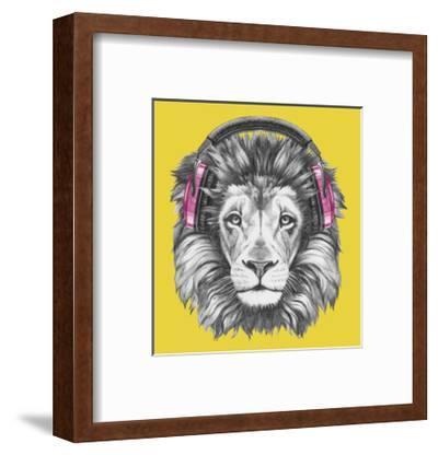 Portrait of Lion with Headphones. Hand Drawn Illustration.-victoria_novak-Framed Art Print